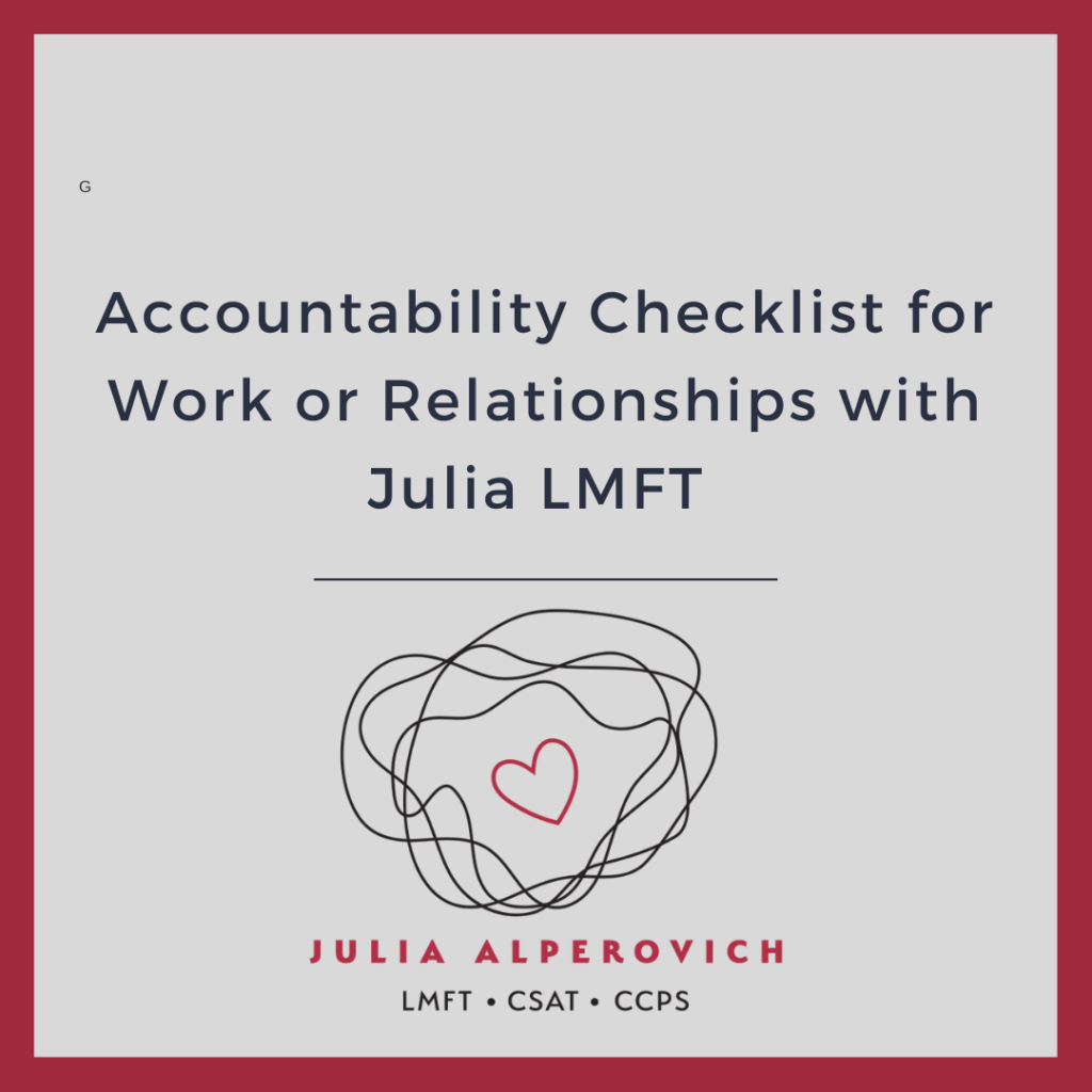 Accountability Checklist for Work or Relationships